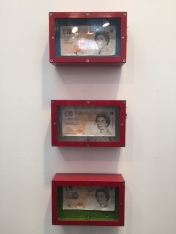 "From top to bottom: ""Money and Tender"", ""Money and Life"", ""Money and clouds"", Tim Lewis, £1,200 each"